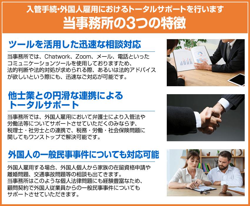 入管手続・外国人雇用におけるトータルサポートを行います。当事務所の3つの特徴